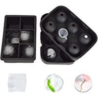 Ice Ball Maker Mold Ice Cube Trays Helistar Silicon Sphere and Large Square Molds for Whiskey and Cocktails, Reusable…