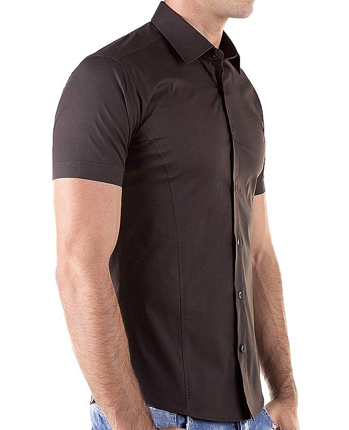 bb8bb2c066722 Kayhan Chemises à Manches Courtes-Homme-Slim fit 10 Coloris au Choix pour  Femme s-XL Facile à Repasser: Amazon.fr: Vêtements et accessoires