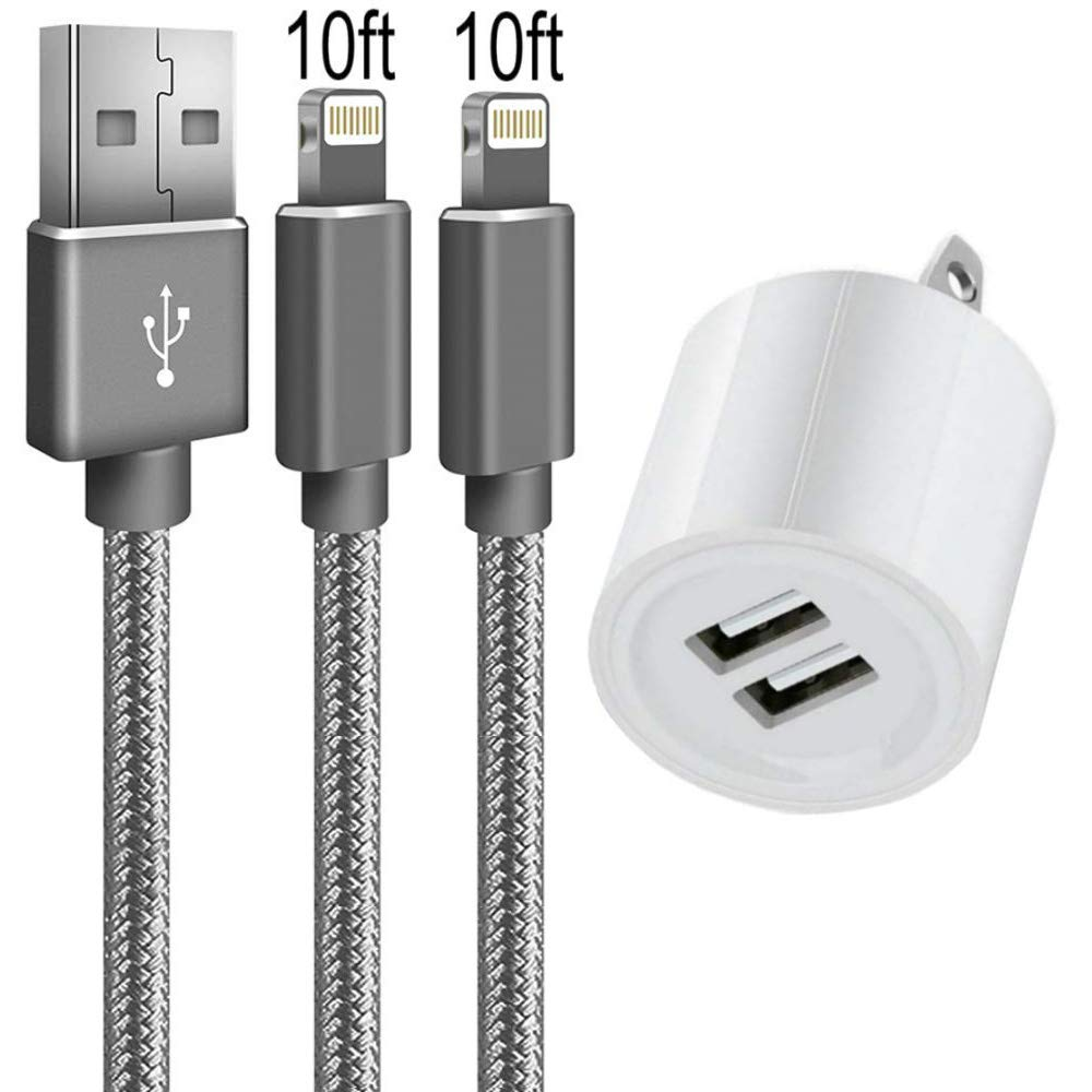 Boost Chargers USB Charging Cable High-Speed Data Cords w// 2-Port Power Adapter Wall Charger Cube White 2-Pack