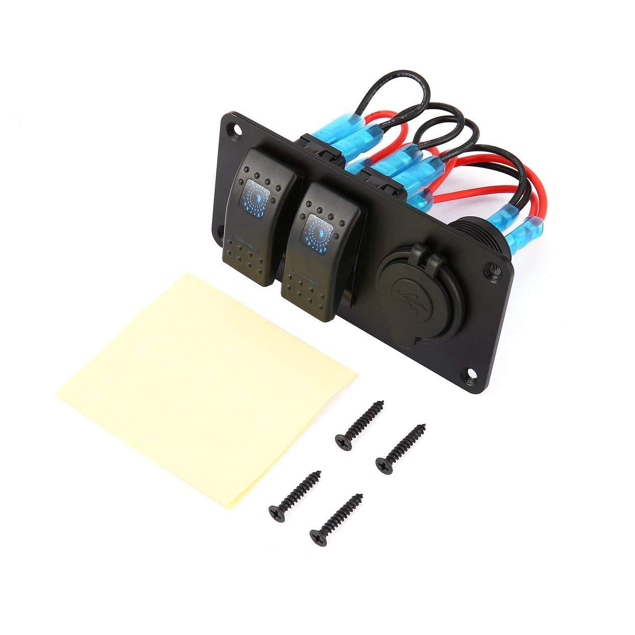 LoveOlvidoF 2 Gars Voiture Marine Bateau 5 Broches LED Interrupteur À Bascule Panneau 3.1A Double Ports USB Socket Chargeur Circuit Étanche