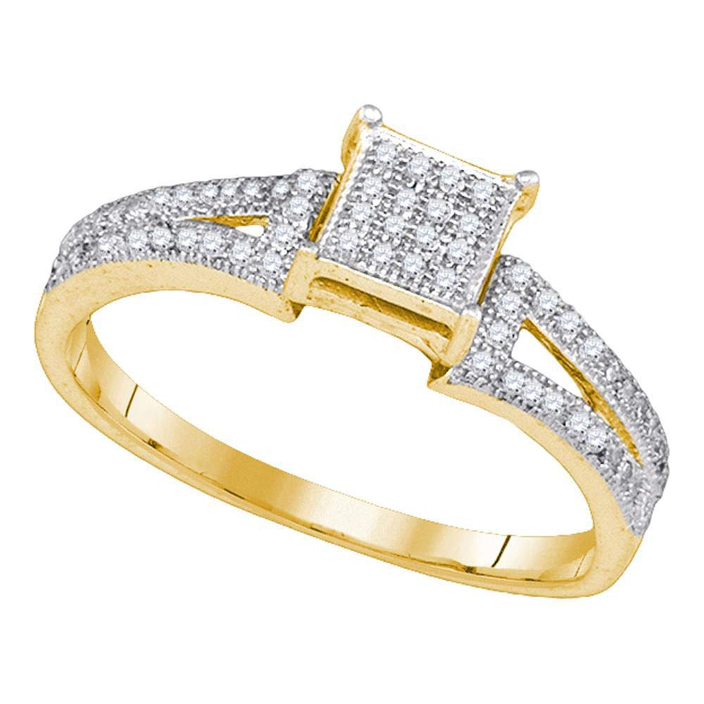 Wedding Band Bridal Set 1//6ct 10k Yellow Gold Diamond Elevated Engagement Ring