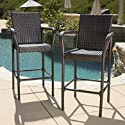 Great Deal Furniture | Stewart | Outdoor Wicker Barstool | Set of 2 | in Brown
