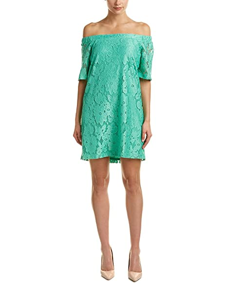 e27735b2d67 Donna Morgan Womens Off The Shoulder Short Sleeve Knit Lace Shift Dress at  Amazon Women s Clothing store