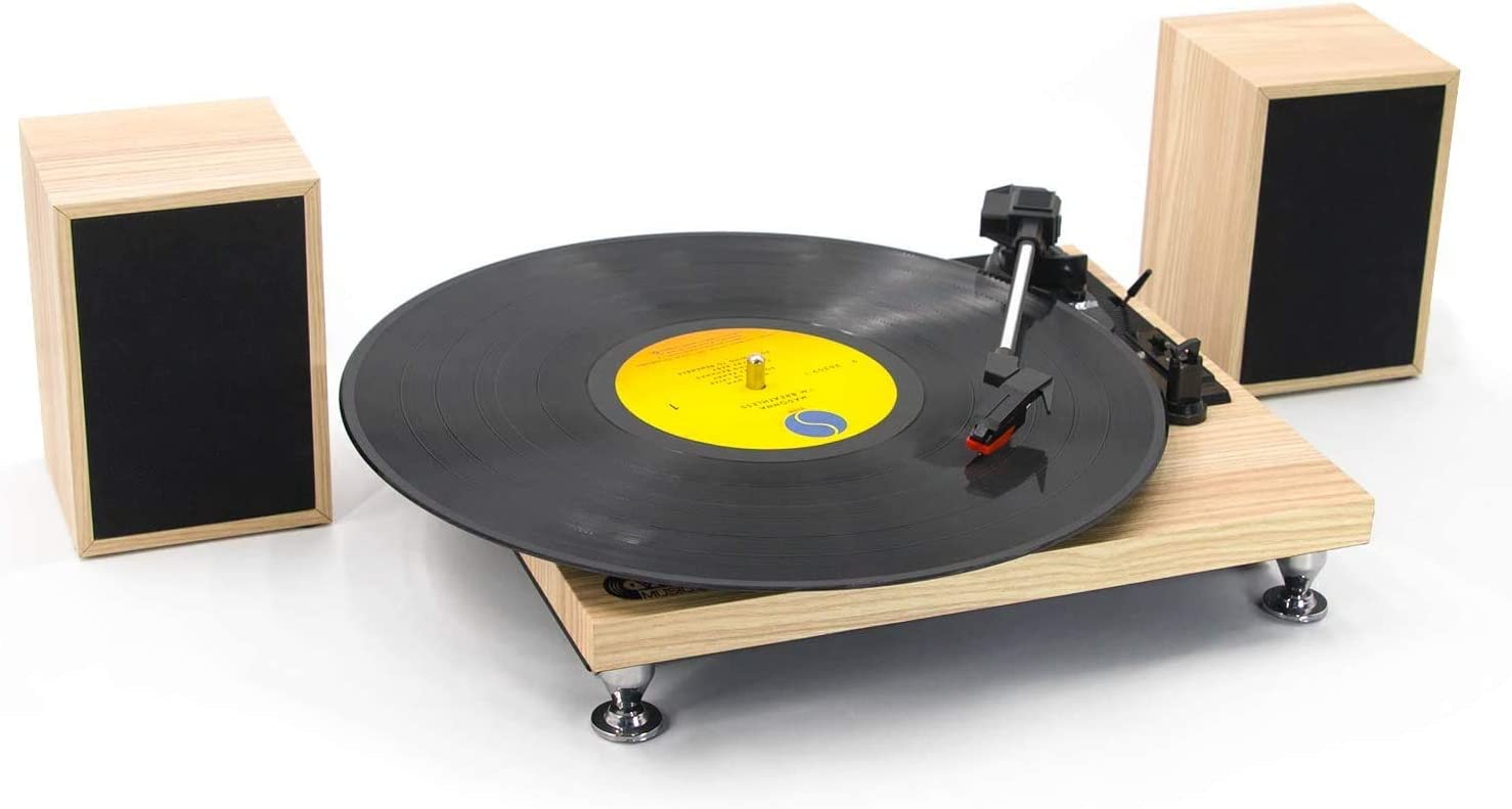 Vinyl Record Player with Powerful External Speakers 3 Speed Belt-Driven Wooden Vintage Turntable for Entertainment and Home Decoration