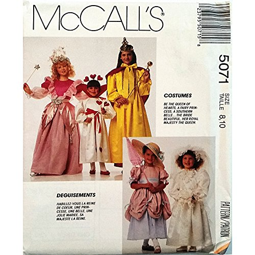 Girls Costumes Princess Queen of Hearts McCalls 5071 Pattern Vintage 1990 -
