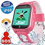 Waterproof IP68 Kids Smart Watch Phone for Girls Boys with GPS Locator Fitness Tracker Wrist Smartwatch Sport Watch Game Anti-lost SOS Alarm Clock Bracelet Swim Run Summer Outdoor Birthday Gift (Pink)