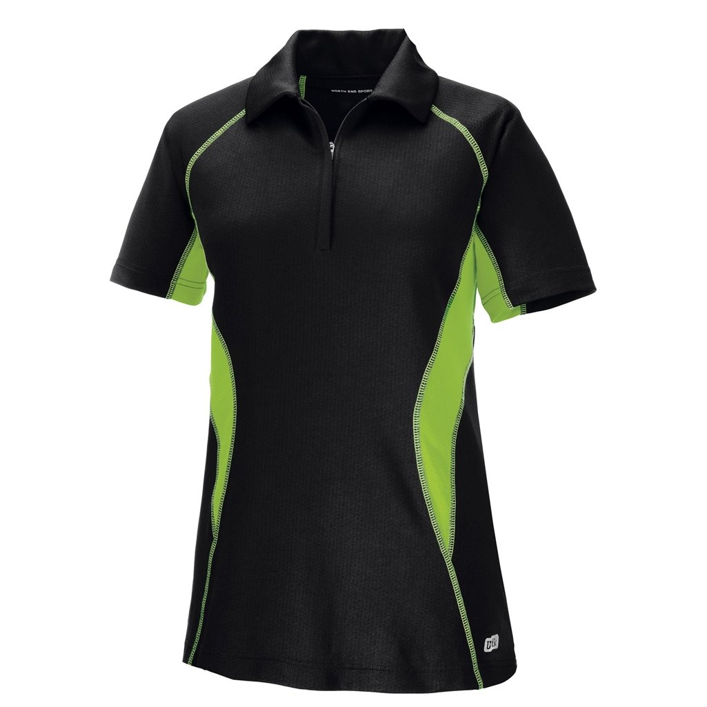 Ash City Womens Serac Performance Zipped Polo (XX-Large, Black/Acid Green) by Ash City Apparel