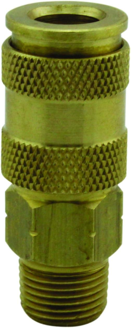 "Milton 767 3/8"" MNPT HIGHFLOWPRO V-Style/European Interchange Air Coupler Fitting (High Volume Low Pressure Application) -Box of 10"