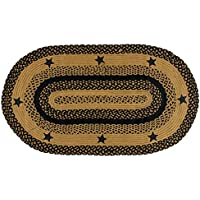 IHF Home Decor Braided Area Rug Oval Floor Carpet 22 x 72 Inches Star Black Design Jute Fiber
