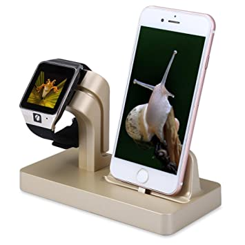 FACEVER Soporte de Cargador para Apple Watch, Soporte y Estación de Carga para Apple iWatch Series 3/2/1, iPhone X 8 7 Plus 6S, iPod -Oro