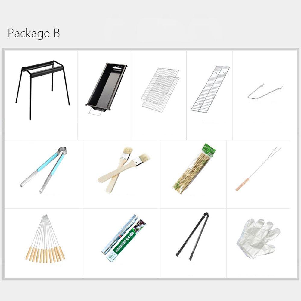 バーベキューステンレス鋼屋外折りたたみグリルホーム炭BBQツールポータブルピクニックシルバー (Color : Black, Size : Package B) B07DW3RBF7 Package B|Black Black Package B