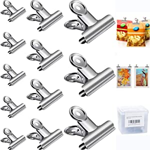 12 Pack Chip Bag Clips Food Clips, 3 Sizes Heavy Duty Stainless Steel File Clamps, Perfect Air Tight Seal Good Grip Cubicle Hooks for Office School Home Kitchen