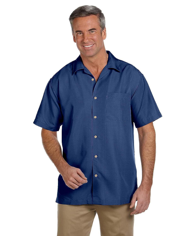 2XL Harriton Mens Barbados Textured Camp Shirt Pool Blue