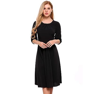 ACEVOG Women O-Neck Half Sleeve Dress High Waist Wedding Pleated Midi Dress at Women's Clothing store