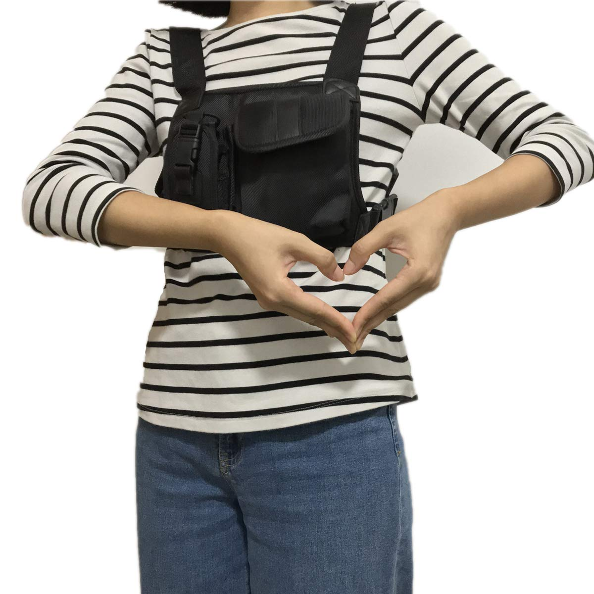 BLVL Radio Chest Harness Chest Front Pack Pouch Holster Vest Rig Holster Two Way Radio Walkie Talkie