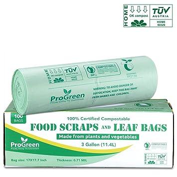 Amazon.com: ProGreen Bolsas 100% compostables de 3 galones ...