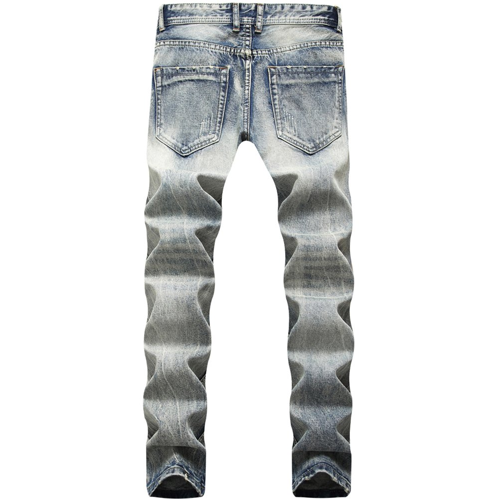 LIYT Mens Fashion Straight Jeans Trousers Denim Casual Pants