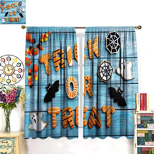 Anniutwo Halloween Blackout Curtain Fresh Trick or Treat Gingerbread Cookies on Blue Wooden Table Spider Web Ghost Thermal Insulating Curtain Multicolor W52 x L63 -