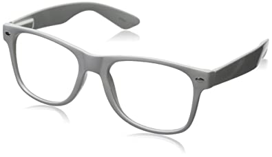 6b81b5c5b2e Image Unavailable. Image not available for. Color  Nerd Glasses Buddy Holly  Wayfarer White Frame Clear Lens