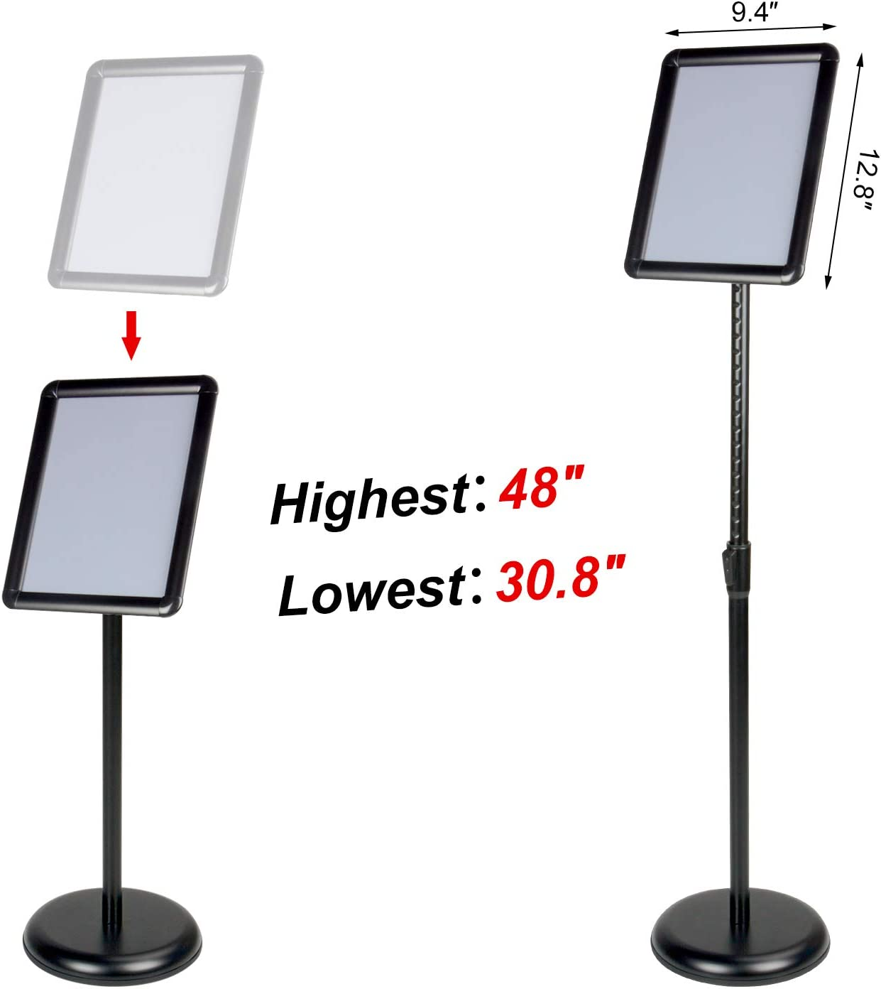 11 x17 Inch Floor Standing Poster Sign Holder with Round Corner Vertical and Horizontal View Sign Displayed Wevalor Adjustable Pedestal Sign Stand Silver