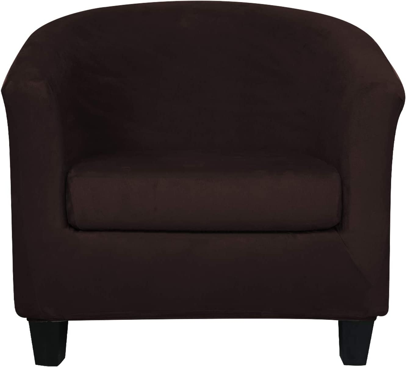 2 Pieces Velvet Tub Chair Covers with Cushion Cover Stretch Soft Removable Tub Chair Slipcovers Armchair Sofa Couch Furniture Protector for Living Room Club Bar Counter Hotel (Brown)