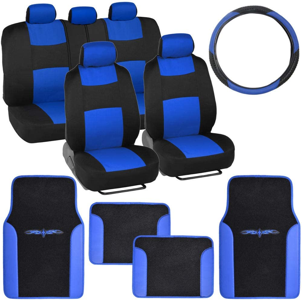 BDK Blue Combo Fresh Design Matching All Protective Seat Covers (2 Front 1 Bench) Ergonomic Steering Cover (1 Piece) Heavy Protection Sleek Graphic Auto Carpet Floor Mats (4 Set)