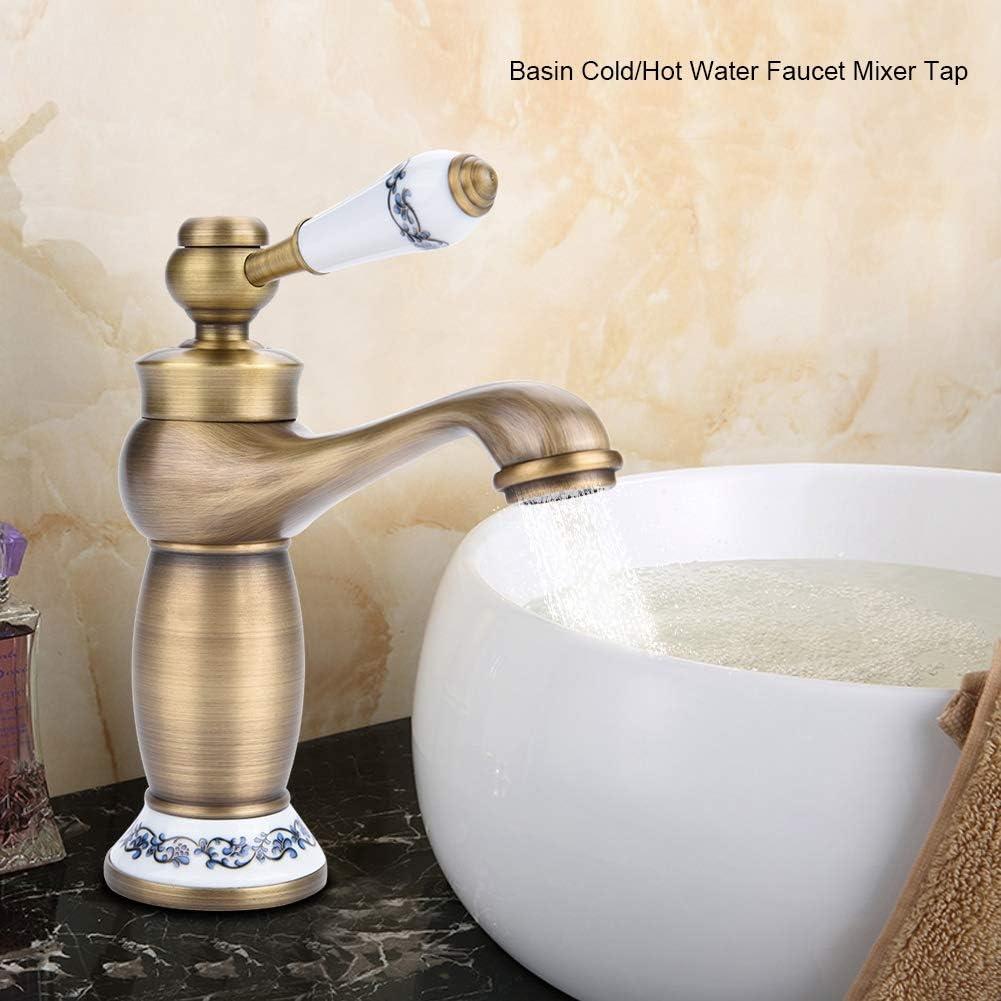 Antiguo Lat/ón con patr/ón floral Grifo mezclador de una sola manija Grifo de agua fr/ía//caliente Usado para el lavabo del ba/ño Lavabo para lavamanos Lavabo para manos