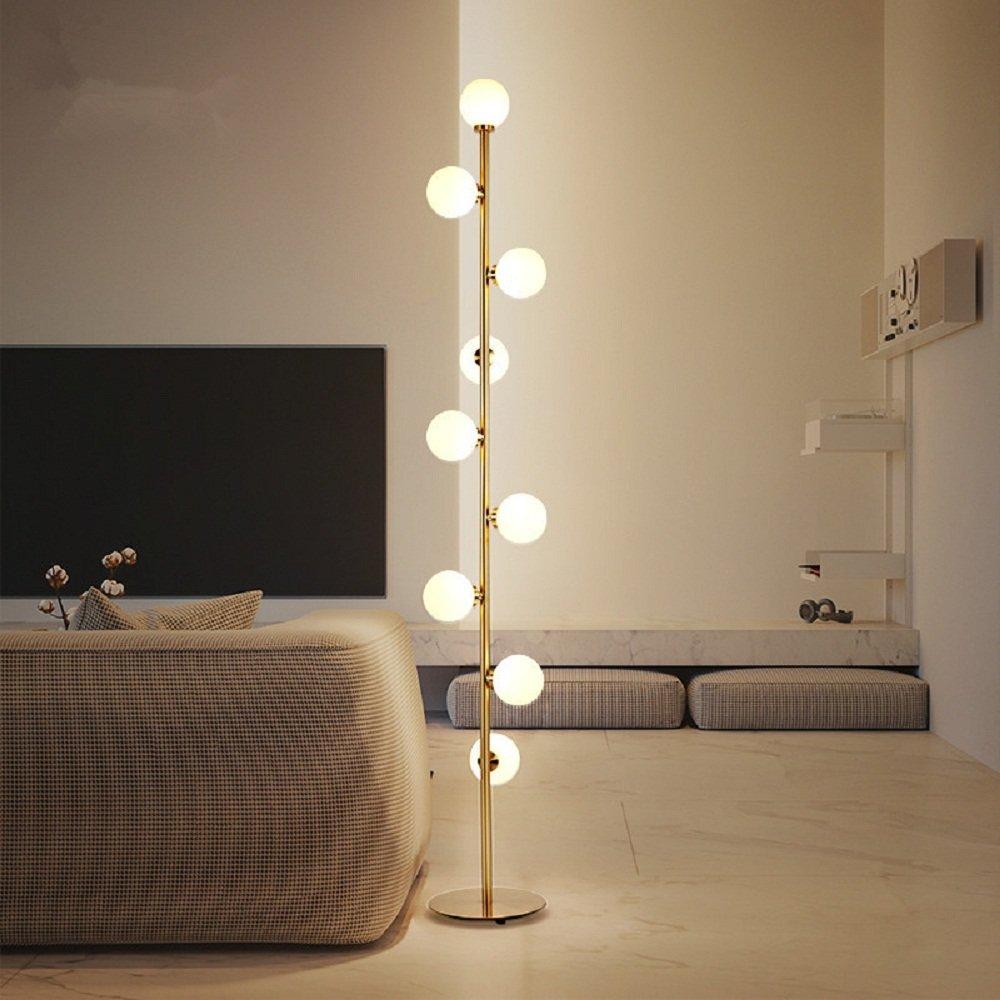 Lighting Groups Nordic 9 Acrylic Ball Lamps Nickle Gold Plating Rod Floor Light Modern Bedroom Bedside Living Room Sofa Ball Floor Lamp (Warm Light)