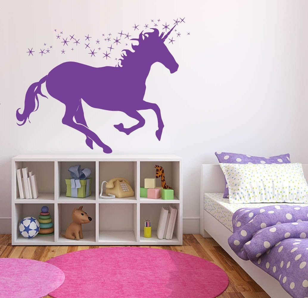 Wall Decal Sticker Bedroom Pegasus Unicorn Magic Horse Dream Cartoon Kids Girls Boys Teenager Room 660b