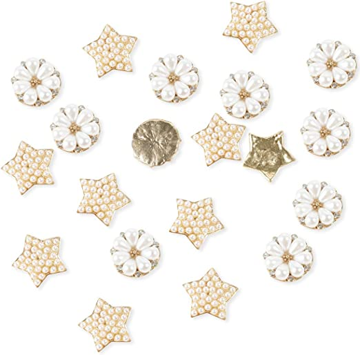 Star Iron On Sew On Appliques 26mm Patch Motif 20 Gold Flower
