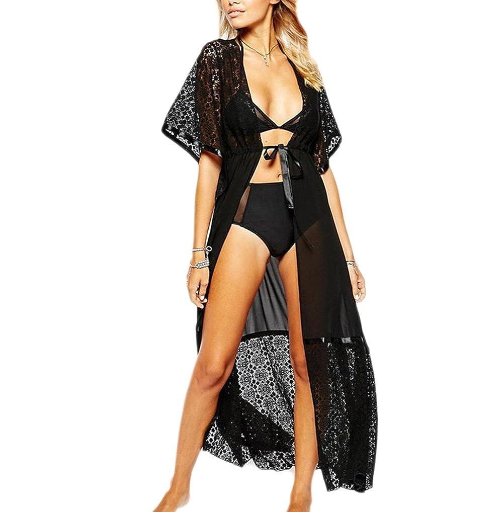 Châle Kimono Cardigan JLTPH Cardigan Plage Femme Imprimé en Mousseline de Soie Bikini Cover-Up Long Blouse