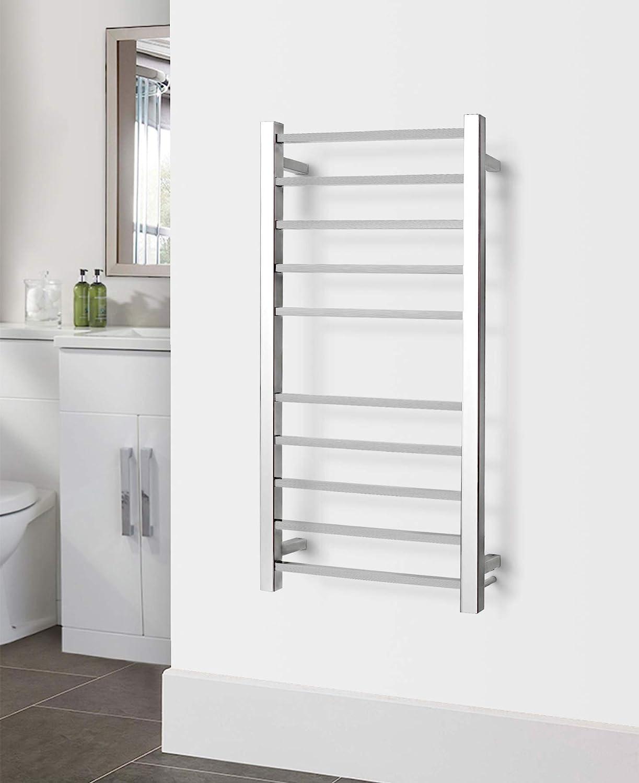 WarmlyYours 10Bar Metropolitan Towel Warmer Hardwired Polished Stainless Steel