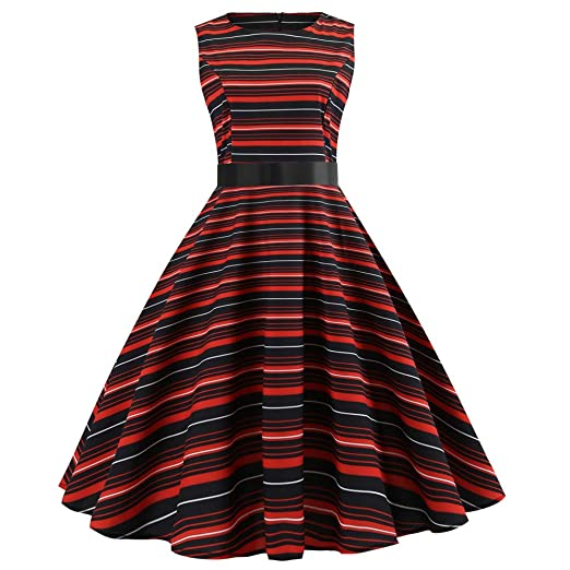 iHPH7 Women Vintage Sleeveless O Neck Evening Striped Printing Party Prom Swing Dress