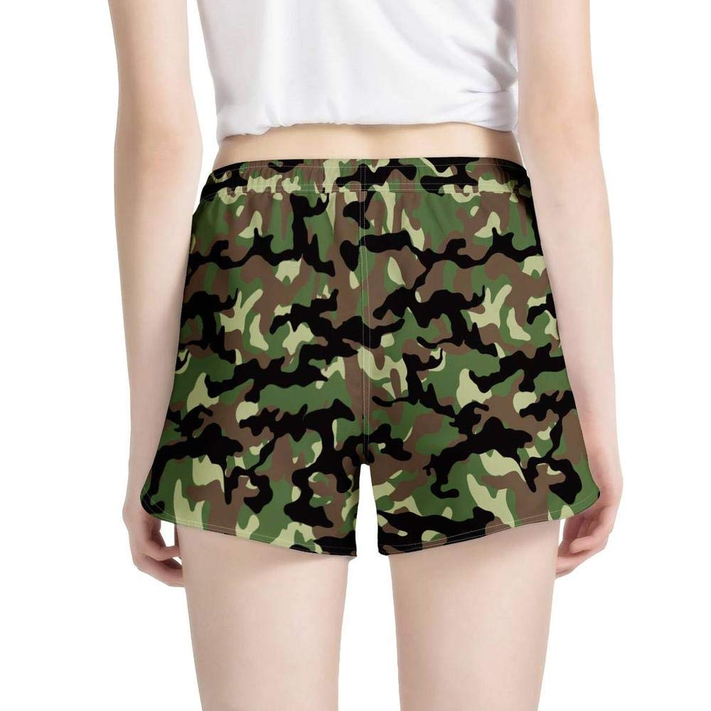 Camouflage Summer Beach Shorts Quick Dry Tankini Swim Briefs Bottom Boardshorts Drawstring Elastic Waist for Women Girls