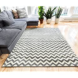 """Wandering Chevron Grey Zig Zag Modern Casual Geometric Area Rug 2x4 ( 2'3"""" x 3'11"""" ) Easy to Clean Stain Fade Resistant Shed Free Contemporary Abstract Funky Fun Shapes Lines Living Dining Room Rug"""