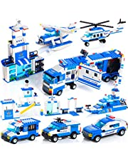 WishaLife City Police Helicopter and Station Building Sets Kids Bricks Toys Set with Storage Box Gift for Boys and Girls