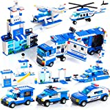 WishaLife 1115pcs City Police, City Station Building Sets, 8 in 1 Mobile Command Center Building Bricks Toy with Cop Car & Patrol Vehicles for Kids Gift with Storage Box(Not Contain 8 Minifigures)