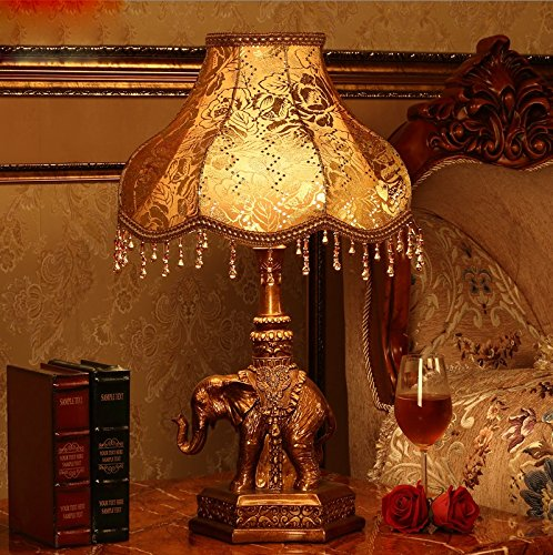 MILUCE European Style Table Lamp Bedroom Luxury Bedside Lamp Retro Decoration Study Elephant Lamp by MILUCE (Image #1)
