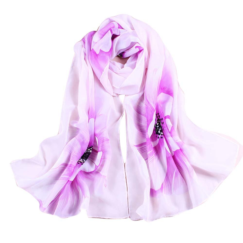 Wociaosmd Women Flower Print Chiffon Long Scarf Lightweight Shawl Wraps Autumn and Spring Scarf(Purple,E)
