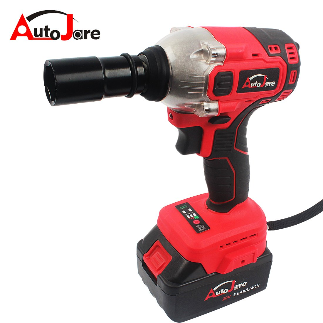 Autojare- 1/2inch Cordless Impact Wrench 20V Combination Wrench Set with LED Light + Rechargeable Battery