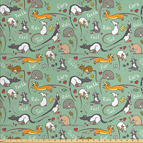(Lunarable Animals Fabric by The Yard, Cute Cartoon Rats with Hearts Tail Teeth Feet and Ears Lettering Urban Wildlife, Decorative Fabric for Upholstery and Home Accents, 1 Yard,)