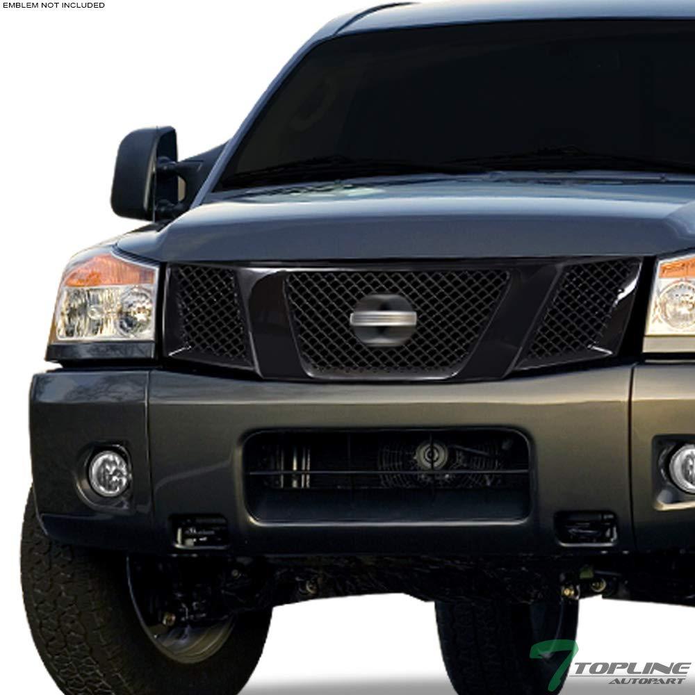 04//05-07 Armada Topline Autopart Black Mesh Front Hood Bumper Grill Grille ABS For 04-07 Nissan Titan