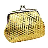 Cleanrance Coin Purse for Women Teen Girls Solid Sequin Retro Vintage Exquisite Clasp Buckle Coin Purse Change Keys Jewelry Pouch Cards Case Holder Wallet Cheap Gift for Girls Women (Gold)