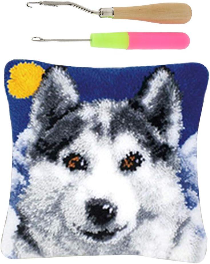 inkl. Kn/üpfnadeln Sharplace Kn/üpfset Kn/üpfkissen Kn/üpfpackung zum selber Kn/üpfen Kissen f/ür Kinder//Erwachsene Wolf Muster