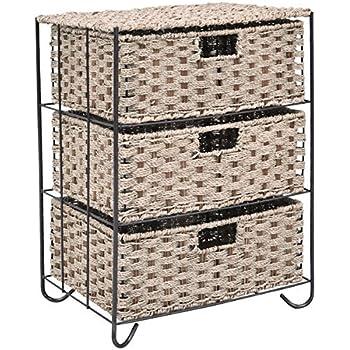 Rattan Wicker Baskets Bin Chest Tower Rack Organizer Shelf Drawer Storage  Unit 3