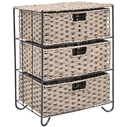 Rattan Wicker Baskets Bin Chest Tower Rack Organizer Shelf Drawer Storage Unit ()