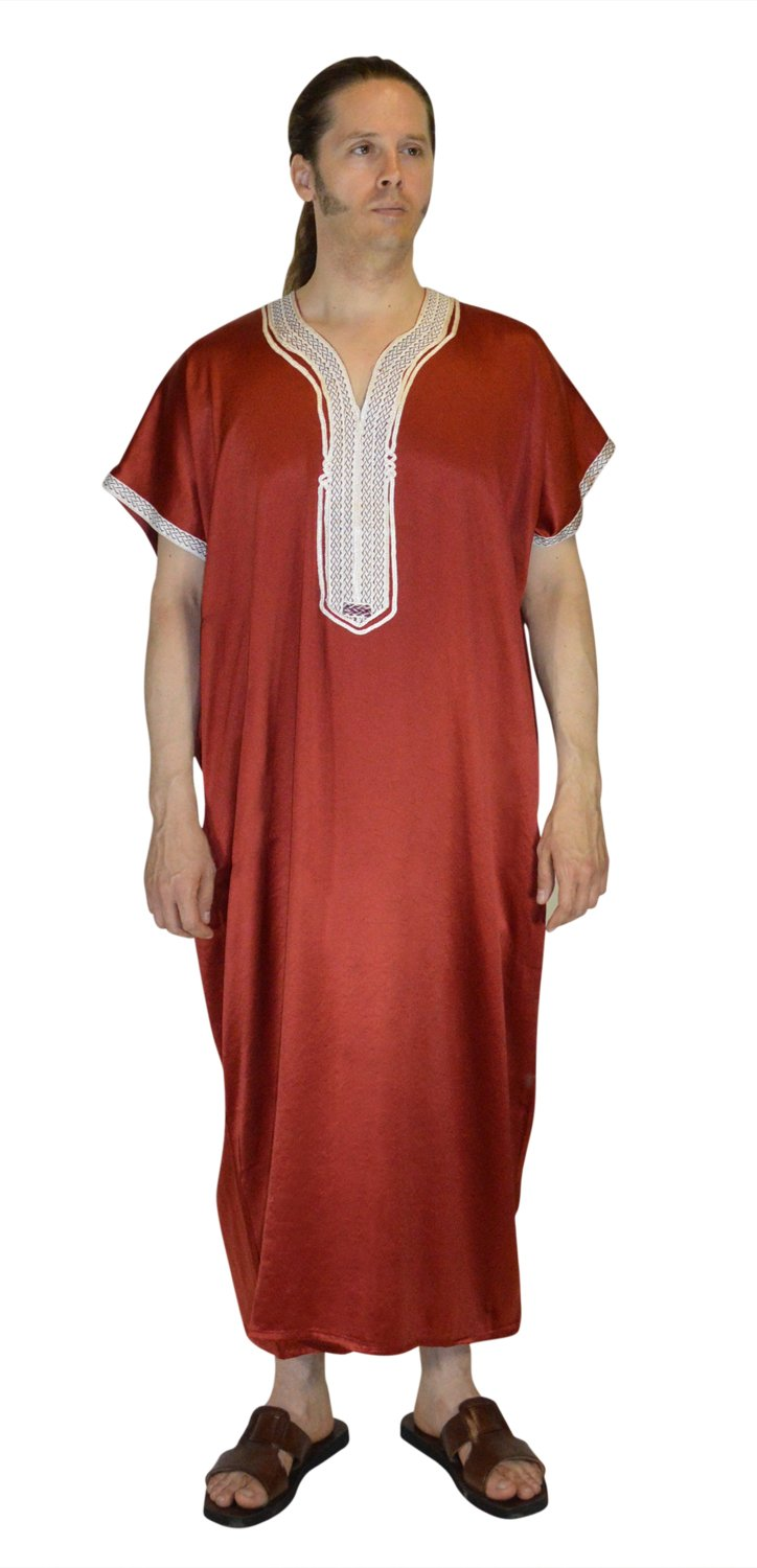 Moroccan Men Caftan Handmade Gandoura Cotton with Beige Delicate Embroidery Red Burgundy