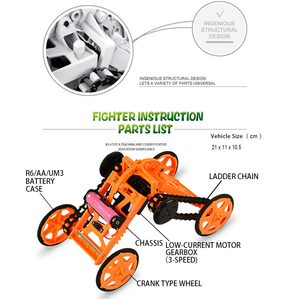 Fricon Birthday Presents Gifts for 8-12 Year Old Boys , Kimy DIY Climbing Vehicle Science Experiment Engineering for Kids Children Toys for 8-12 Year Old Boys Girls Gift Age 8-12 Orange KMUSDC02 by Fricon (Image #6)