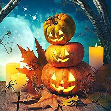 DaShan 6.5x6.5FT Grinning Pumpkins Lanterns Backdrop Golden Blurry Fallenn Leaves Bats Wooden Floor Halloween Photography Background Children Adults Portrait Photo Studio Props Polyester