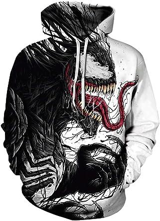Venom Kid/'s 3D Print Hooded Sweatshirt Jacket Long Sleeve Pullover Hoodie Tops